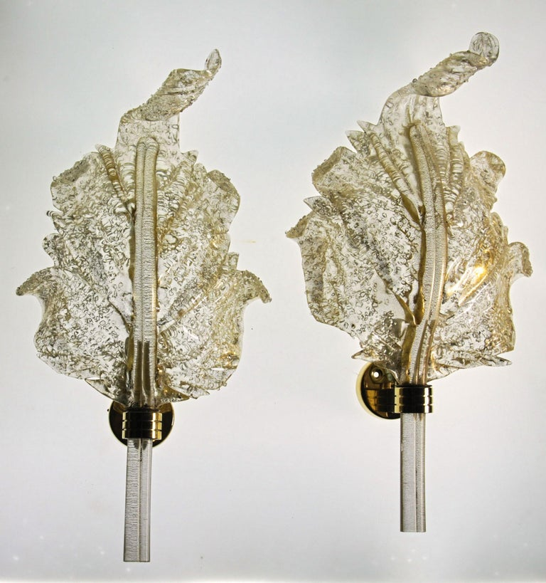 Barovier & Toso, Pair of Sconces Gold leaf, Rugiadoso Murano Glass, rigadin stem For Sale 8