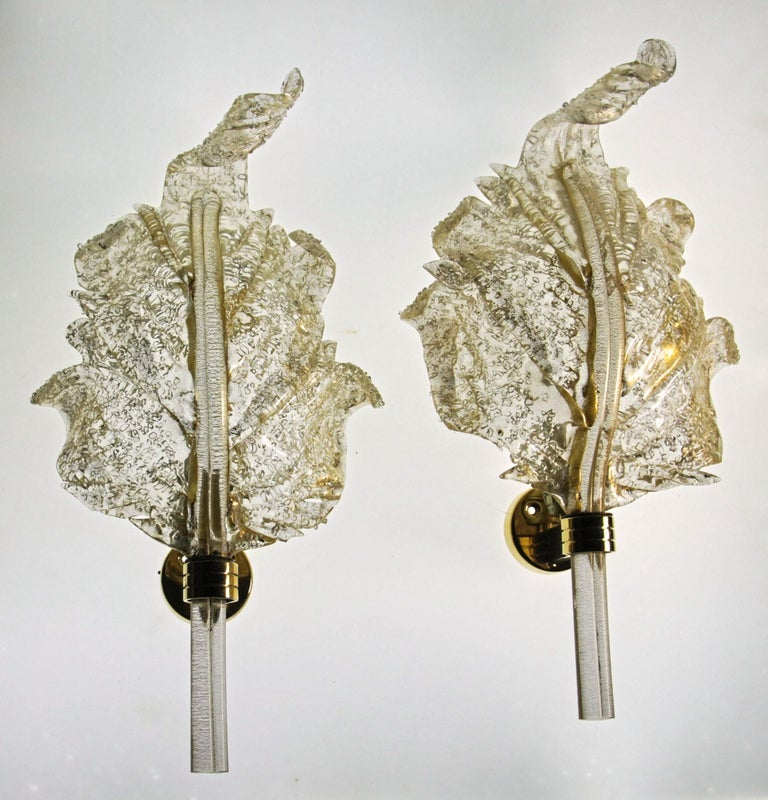 Mid-Century Modern Barovier & Toso, Pair of Sconces Gold leaf, Rugiadoso Murano Glass, rigadin stem For Sale