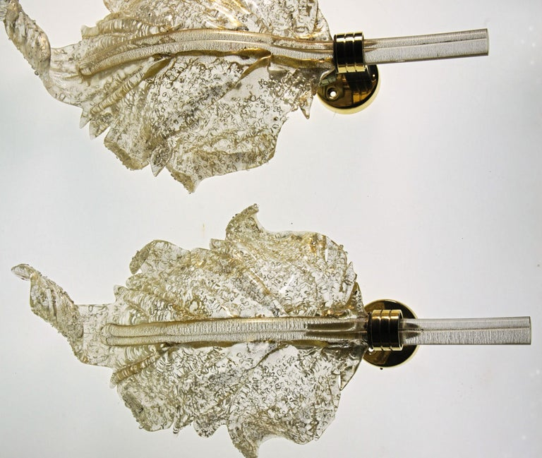 Barovier & Toso, Pair of Sconces Gold leaf, Rugiadoso Murano Glass, rigadin stem In Good Condition For Sale In Tavarnelle val di Pesa, Florence