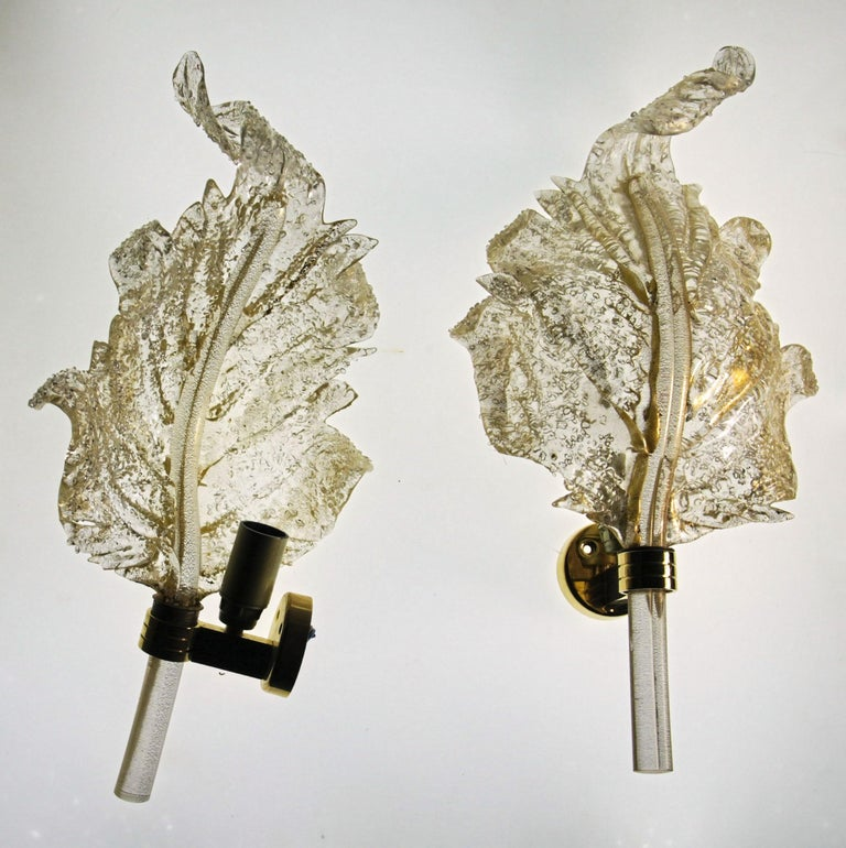 Art Glass Barovier & Toso, Pair of Sconces Gold leaf, Rugiadoso Murano Glass, rigadin stem For Sale