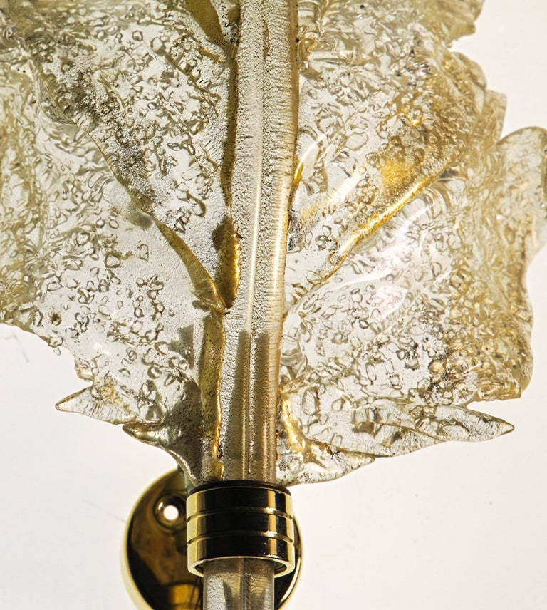 Barovier & Toso, Pair of Sconces Gold leaf, Rugiadoso Murano Glass, rigadin stem For Sale 2