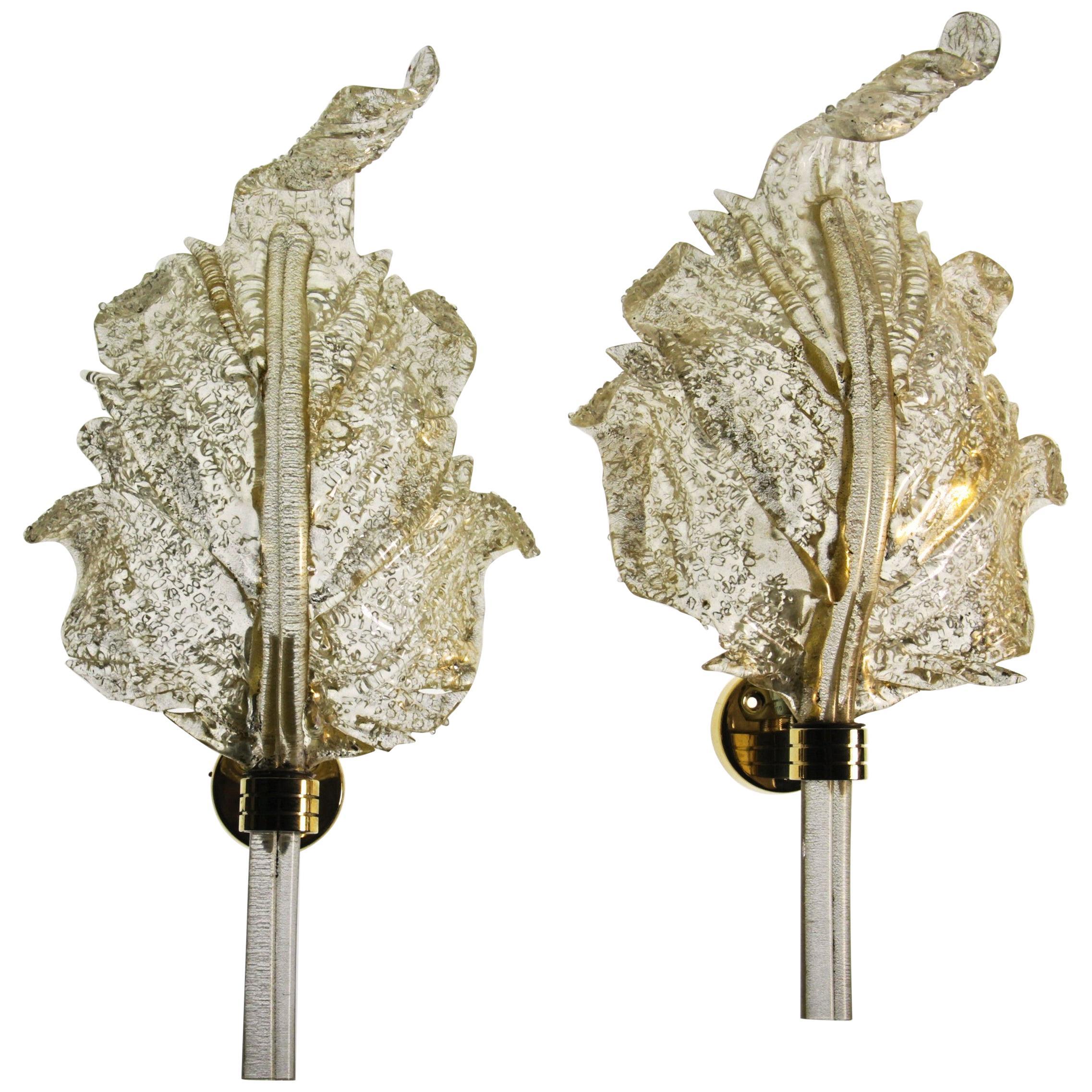 Barovier & Toso, Pair of Sconces Gold leaf, Rugiadoso Murano Glass, rigadin stem