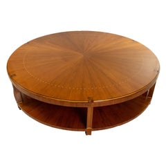 Art Deco Round Rosewood Coffee Table With Sunburst Design in the Ruhlmann Style