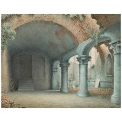 Ruins of a Monastery Courtyard, Signed and Dated by Harald Conrad Stilling, 1865