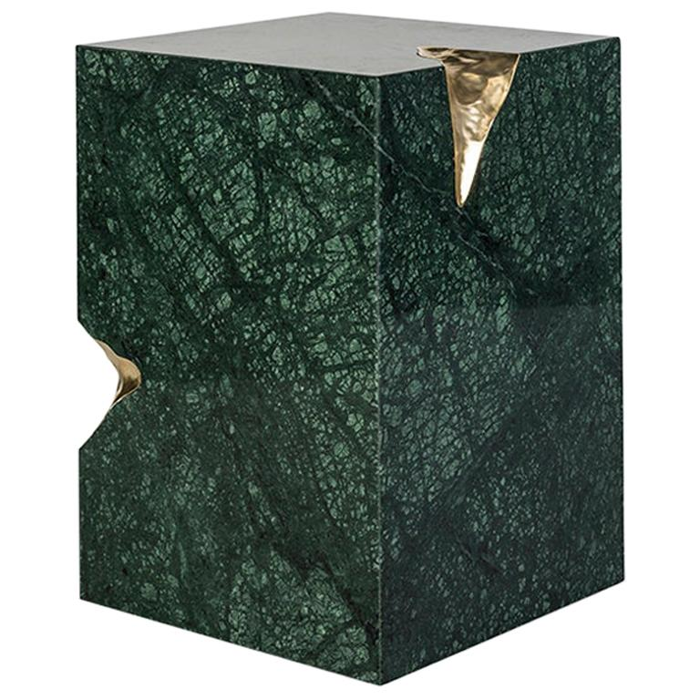 21st Century Ruins Side Table, Green Guatemala Marble and Hammered Brushed Brass