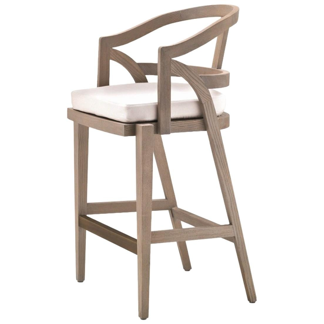 Ruka Outdoor Stool in Solid Sassafras Wood with Fabric and Metal Footrest