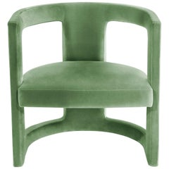Rukay Armchair in Cotton Velvet and Fully Upholstered Legs