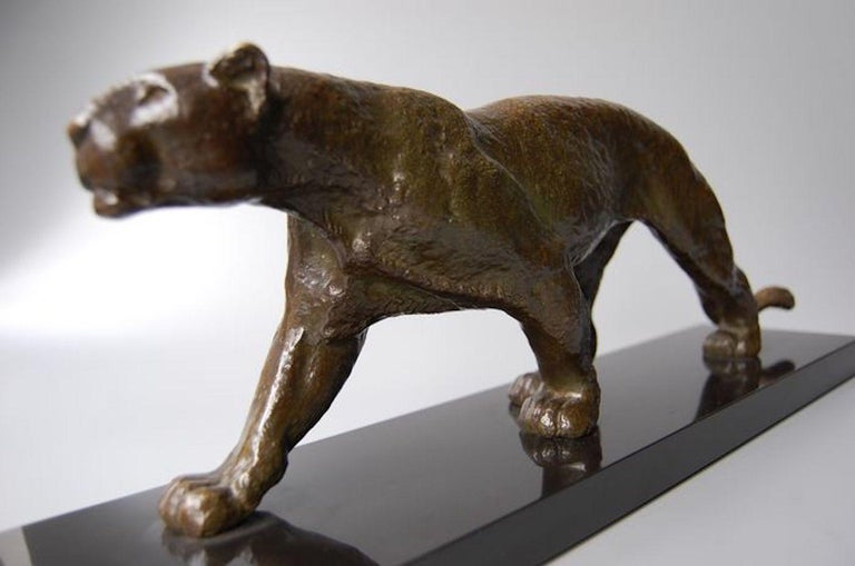 Rulas Art Deco Animalier Bronze Panther Sculpture For Sale 6