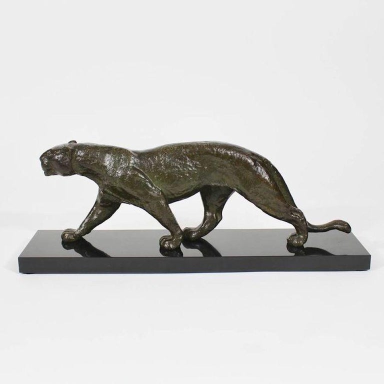 French Rulas Art Deco Animalier Bronze Panther Sculpture For Sale
