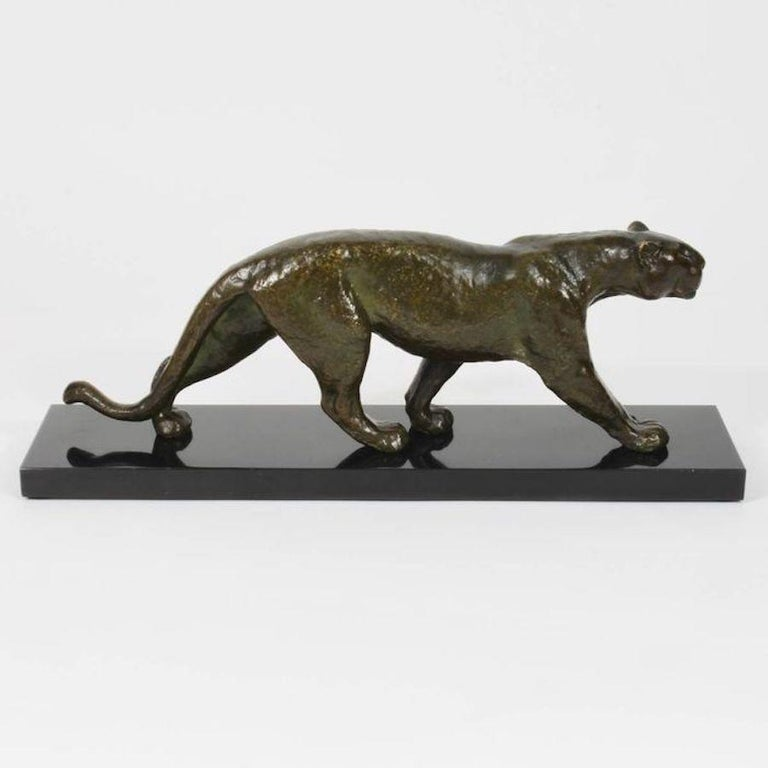 Rulas Art Deco Animalier Bronze Panther Sculpture In Good Condition For Sale In Milano, IT