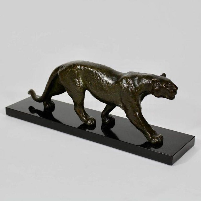 20th Century Rulas Art Deco Animalier Bronze Panther Sculpture For Sale