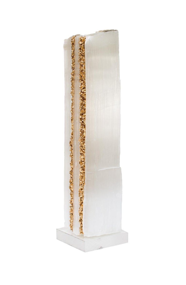 Organic Modern Ruler Selenite with Gold Leaf on a Lucite Base For Sale