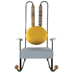 Rulla Rocking Chair, Iron Frame and Mixed Leather Upholstery by Mario Milana