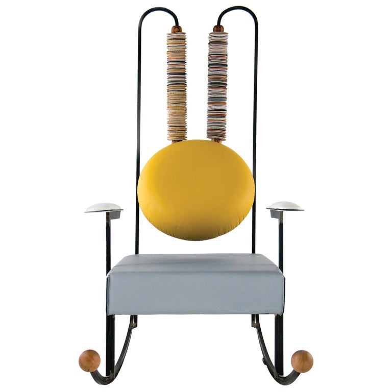 Rulla Rocking Chair, Iron Frame and Mixed Leather Upholstery by Mario Milana For Sale