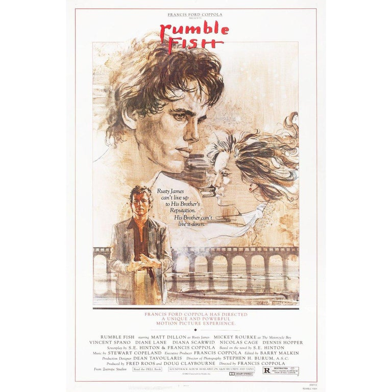 Original 1983 U.S. one sheet poster by John Solie for the film Rumble Fish directed by Francis Ford Coppola with matte Dillon / Mickey Rourke / Diane Lane / Dennis Hopper. Very good-fine condition, rolled. Please note: The size is stated in inches