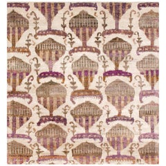 Rumi 'Hikmet-Grape' Hand Knotted, Silk, Transitional, Beige, Antique Purple Rug