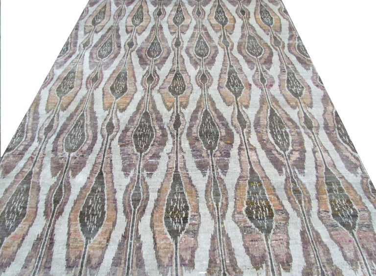 Other Beige Champagne Rust Olive Repurposed Silk Ikat Transitional Rug  For Sale