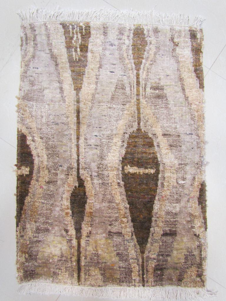 Indian Beige Champagne Rust Olive Repurposed Silk Ikat Transitional Rug  For Sale