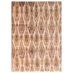 Beige Champagne Rust Olive Repurposed Silk Ikat Transitional Rug