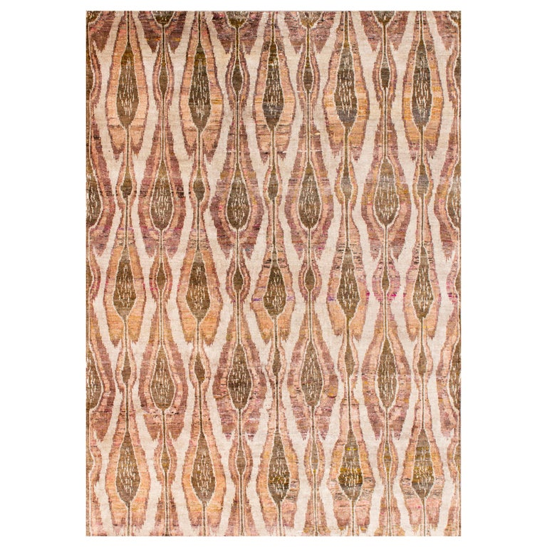 Beige Champagne Rust Olive Repurposed Silk Ikat Transitional Rug  For Sale