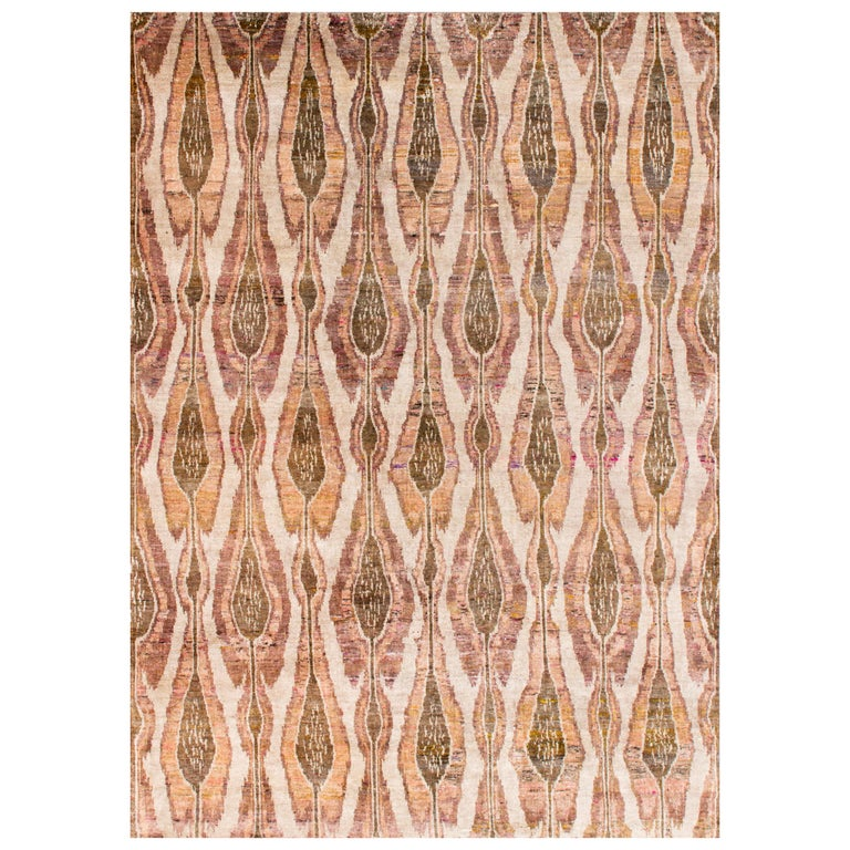 Rust Beige Olive Gold and Mustard Eco-Friendly Transitional Ikat Silk Rug For Sale