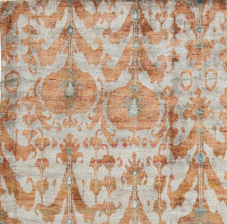 Indian Rust Burnt Orange and Silver Silk Hand-Knotted Ikat Rug For Sale