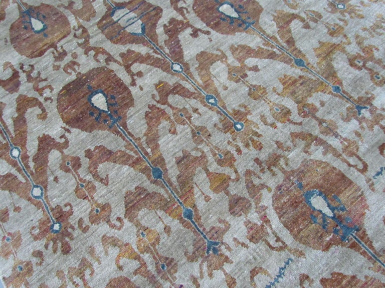 Rust Burnt Orange and Silver Silk Hand-Knotted Ikat Rug In New Condition For Sale In GREAT NECK, NY