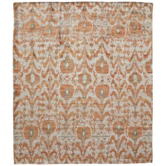 Rust Orange Silver Silk Beige Rug Hand-Knotted Ikat Pattern with Luxe Weave