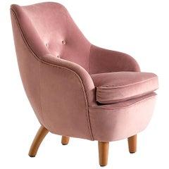 Runar Engblom Armchair in Pink Velvet and Elm Wood, Hotel Vaakuna, Finland, 1951