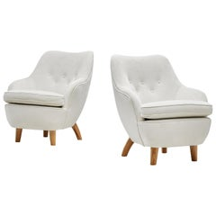 Runar Engblom Pair of Armchairs in Ivory White Ultrasuede