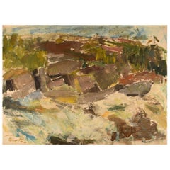 Rune P. Swedish Artist, Oil on Canvas, Modernist Landscape, Mid-20th Century