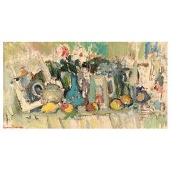Rune Person '1914-1990', Sweden, Oil on Canvas, Modernist Still Life 1960s-1970s