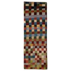 Runner, Colorful Checkerboard Contemporary Gabbeh Persian Wool Rug