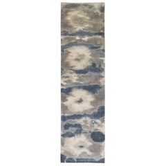 Runner, Gray and Blue Flower Motif Contemporary Gabbeh Style Persian Wool Rug