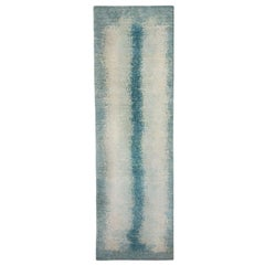 Runner, Neutral and Soft Blue Contemporary Gabbeh Style Persian Wool Rug