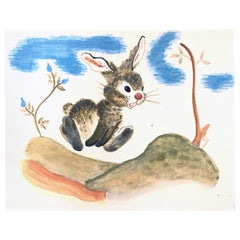 """Running Bunny Rabbit,"" Charming Book Illustration from the 1930s-1940s"