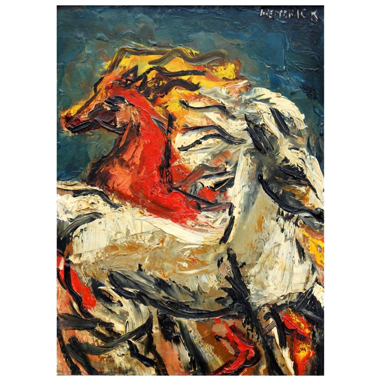 Running Horses Abstract Impressionist Oil Painting For Sale