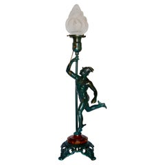 Running Mercury Man Lamp with Flame Shade Art Deco
