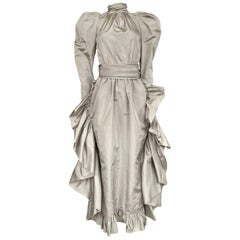 Runway 1981 Christian Dior by Marc Bohan Grey Silk Taffeta Ruffle Dress