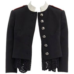 runway ALEXANDER MCQUEEN 2017 black embroidery cropped military jacket IT36 XS