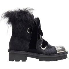 runway ALEXANDER MCQUEEN black pony metal toe fur victorian combat boot EU36