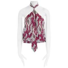 runway ALEXANDER MCQUEEN SS01 red paisley print tie neck silk top IT42 US6 UK10