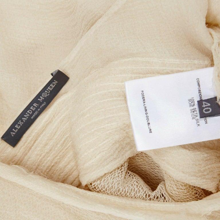 runway ALEXANDER MCQUEEN SS03 Oyster beige raw distress ruffle drape top IT40 S For Sale 7