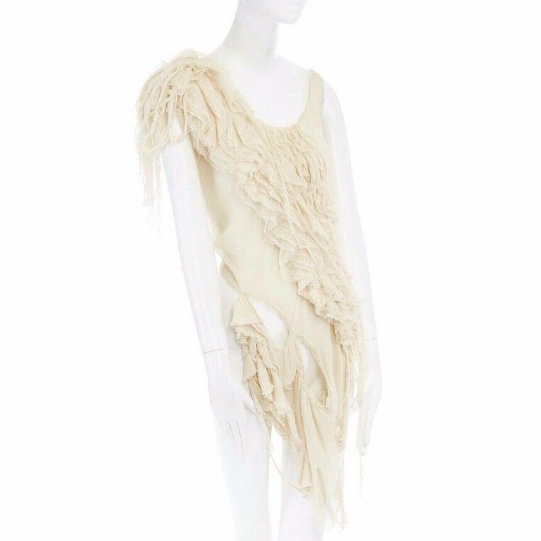 Women's runway ALEXANDER MCQUEEN SS03 Oyster beige raw distress ruffle drape top IT40 S For Sale