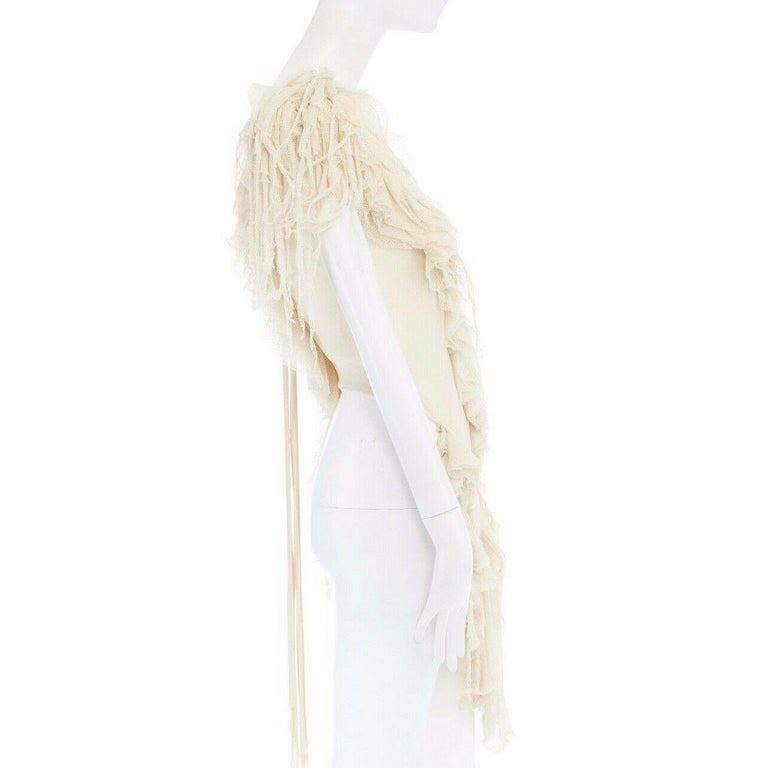 runway ALEXANDER MCQUEEN SS03 Oyster beige raw distress ruffle drape top IT40 S For Sale 1