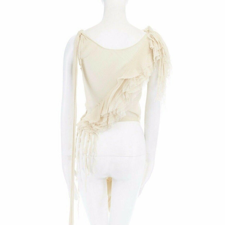 runway ALEXANDER MCQUEEN SS03 Oyster beige raw distress ruffle drape top IT40 S For Sale 2