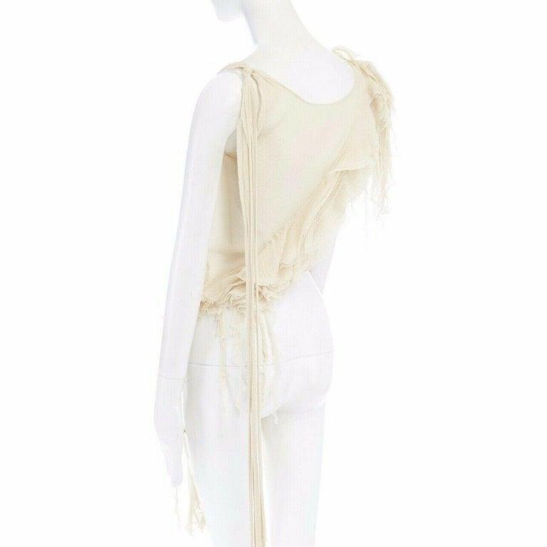 runway ALEXANDER MCQUEEN SS03 Oyster beige raw distress ruffle drape top IT40 S For Sale 3