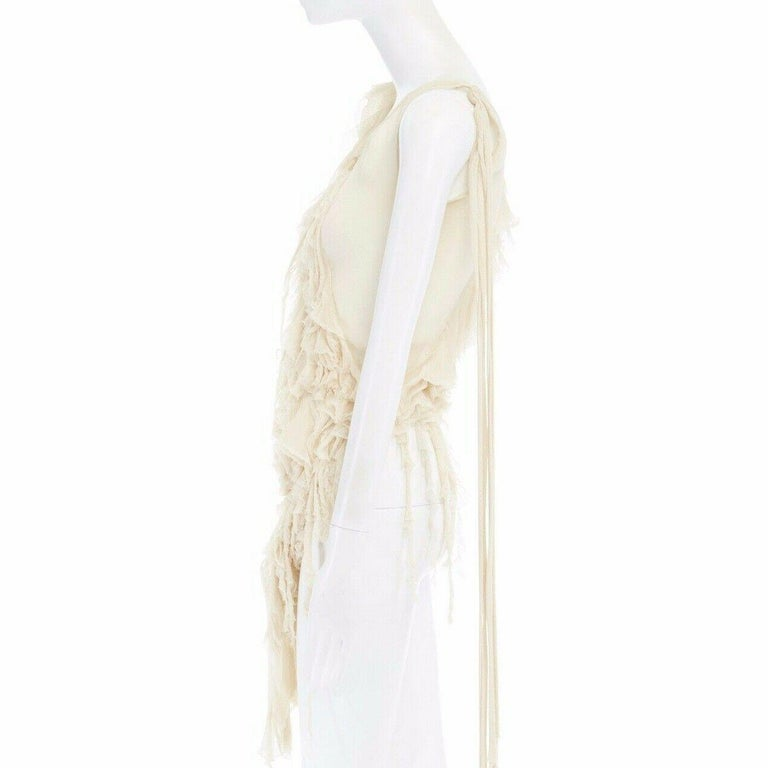 runway ALEXANDER MCQUEEN SS03 Oyster beige raw distress ruffle drape top IT40 S For Sale 4
