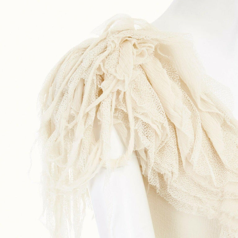 runway ALEXANDER MCQUEEN SS03 Oyster beige raw distress ruffle drape top IT40 S For Sale 5
