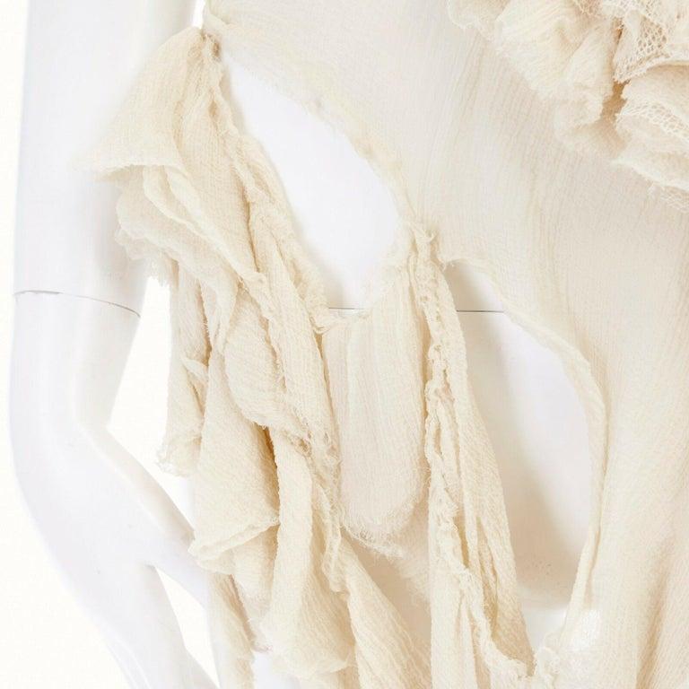 runway ALEXANDER MCQUEEN SS03 Oyster beige raw distress ruffle drape top IT40 S For Sale 6